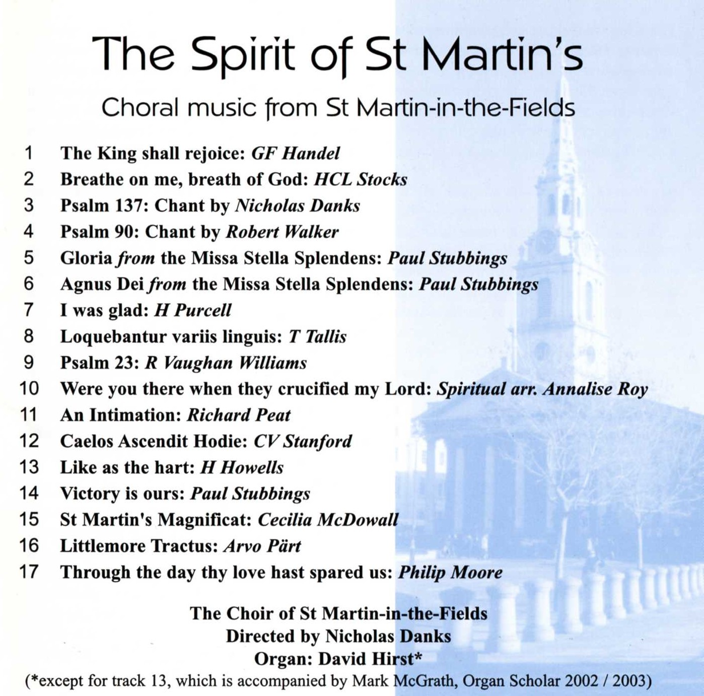 The Spirit of St Martin's (Choral music from St Martin-in-the-Fields) back cover